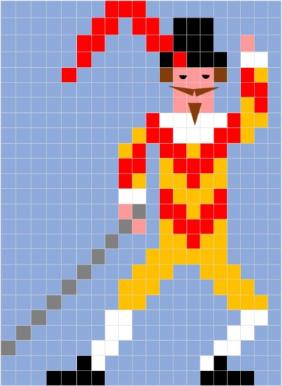 Pixel Art Di Carnevale La Scheda Della Maschera Di Capitan