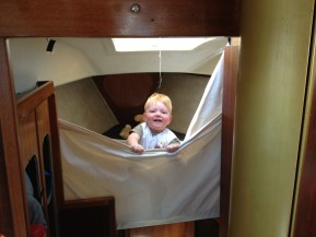Thomas in his new 'cot' in the forecabin