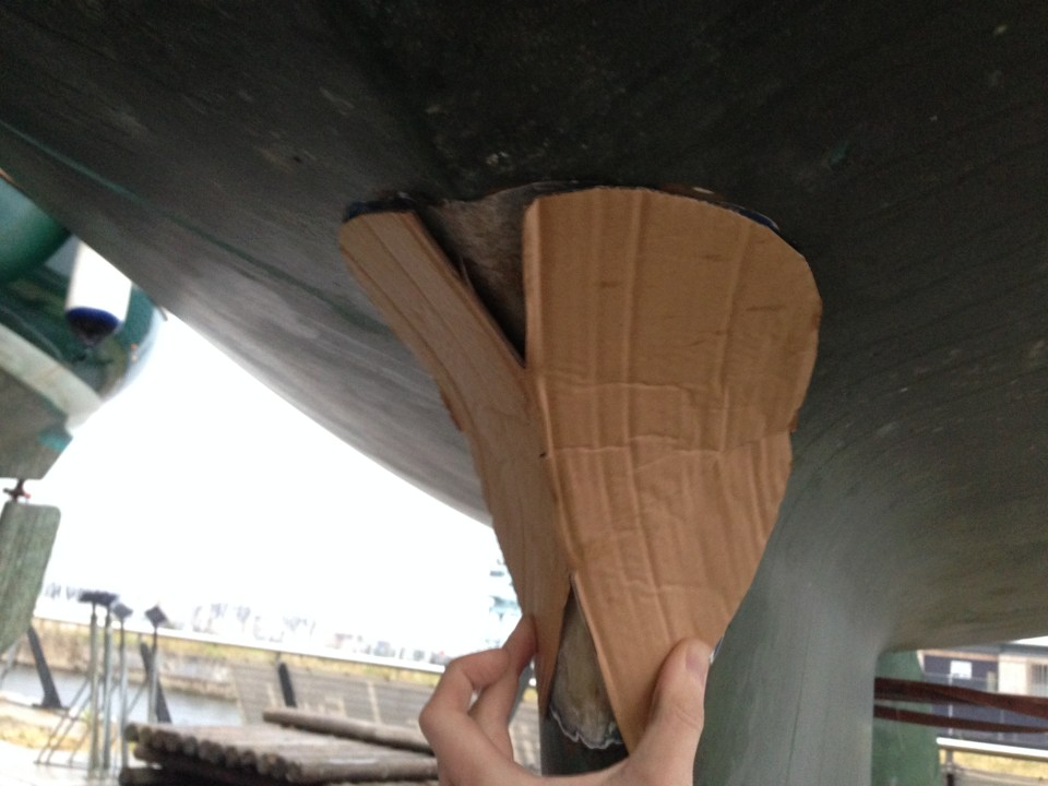 Cardboard template on the boat