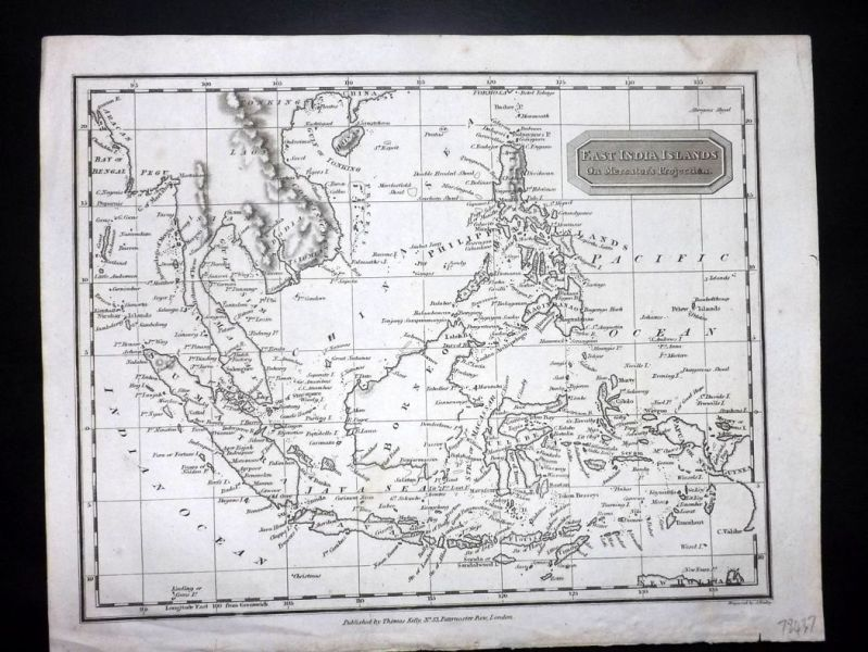 Kelly 1818 Map  East India Islands on Mercator s Projection     Kelly 1818 Map  East India Islands on Mercator s Projection  Indonesia  Philippines