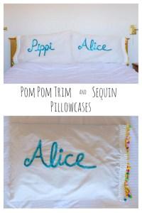 Pom Pom Trim and Sequin Pillowcases