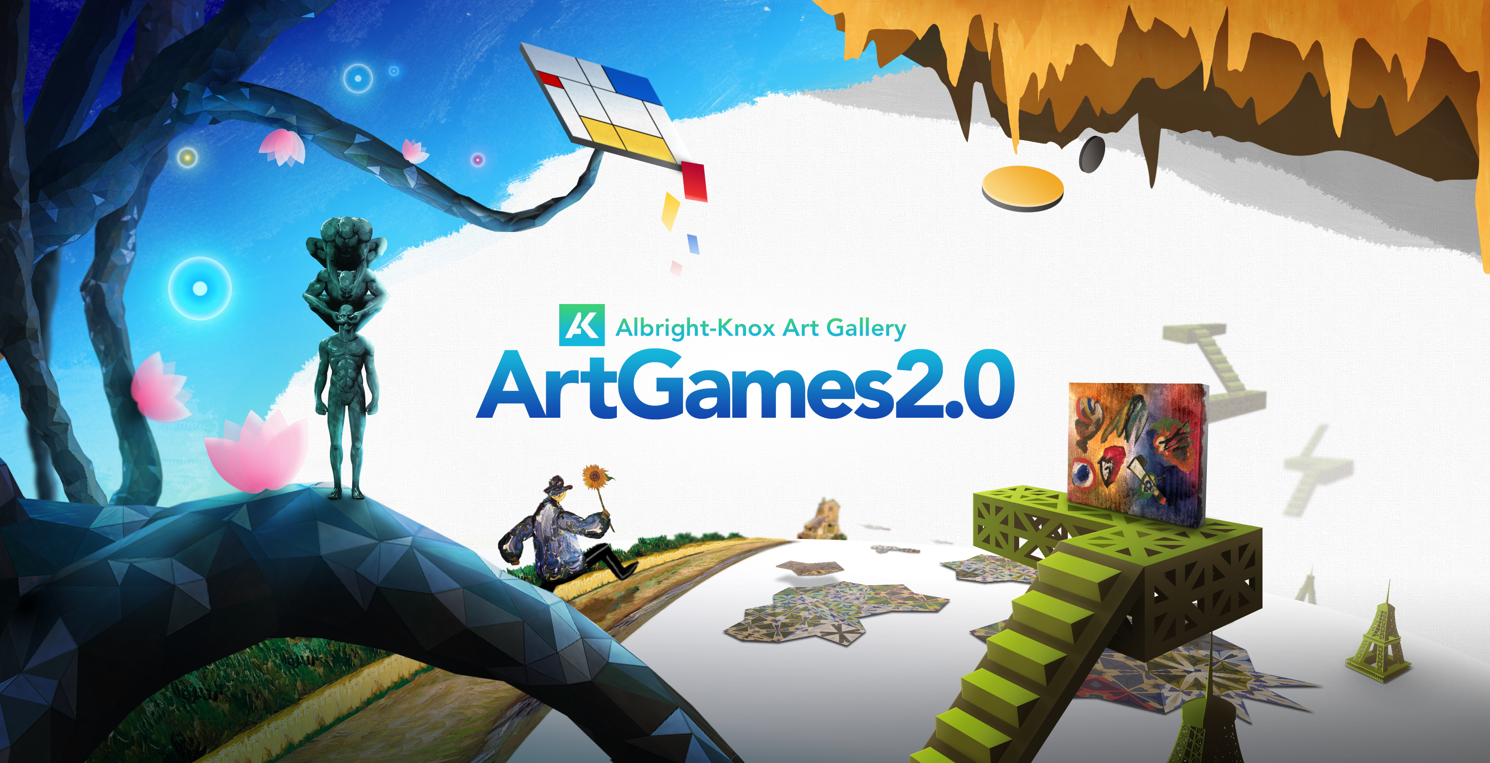 ArtGames 2 0   Albright Knox ArtGames 2 0 promotional graphic with visual elements from all seven games