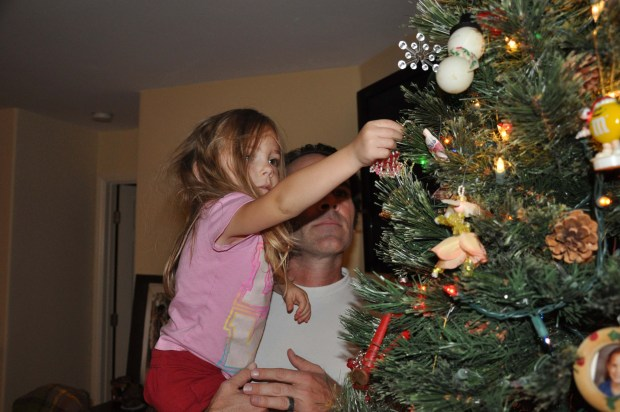 I want to put it high, Daddy!