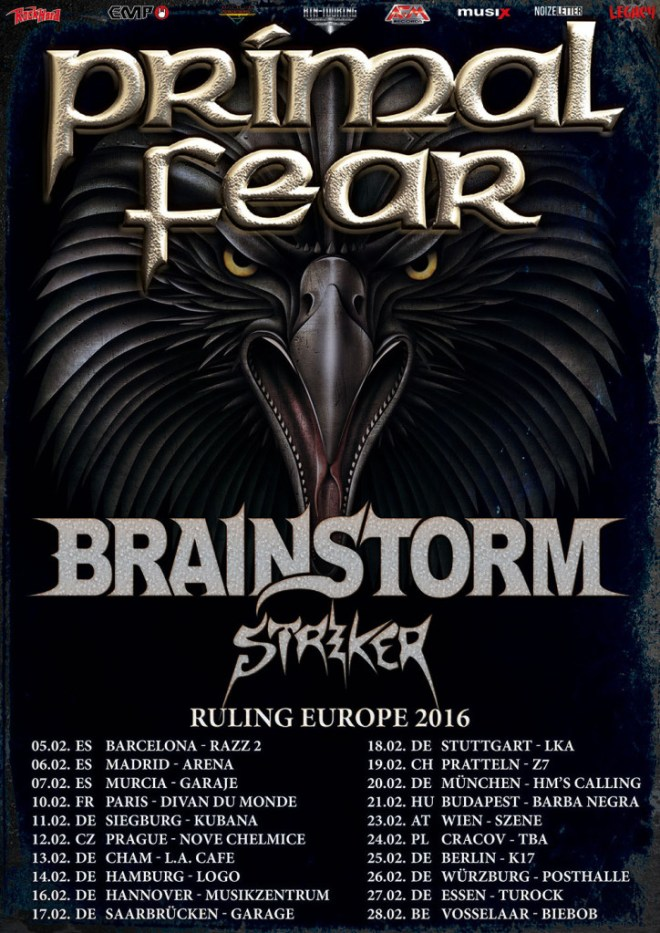 Primal Fear | Brainstorm | Striker | Ruling Europe 2016 Tour
