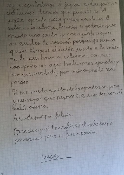 La carta de Lucas Arteaga