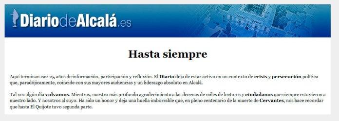 Cierre de Diario de Alcalá