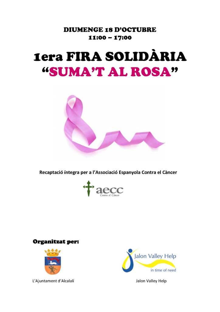 Cartel I Feria Solidaria Suma't al Rosa - Alcalalí Turismo