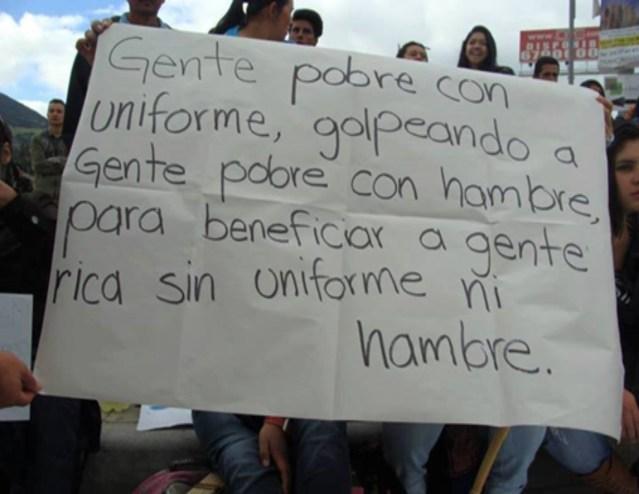 Colombia, sino los mata el hambre los mata la Fuerza Pública