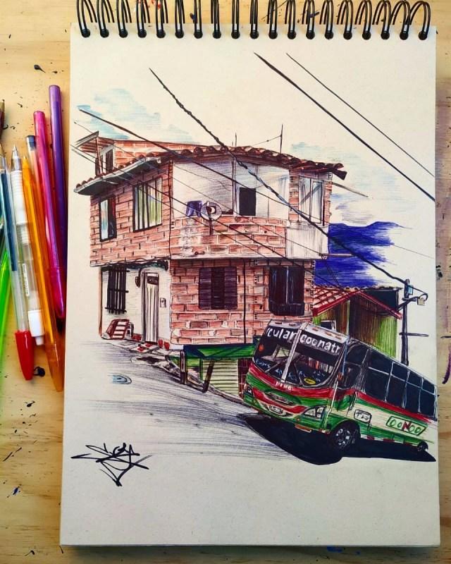 Un bus con arpones. Serie: Una Montaña de casitas. Lapiceros sobre papel