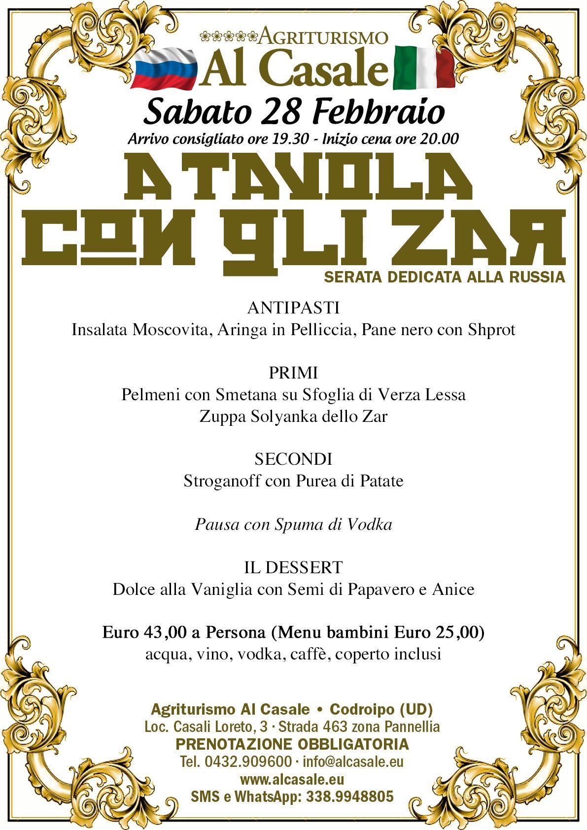 Menu Zar A cena con gli Zar, 28 Febbraio.