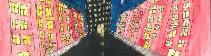 "Third Place, Fifth Grade<br> Zada Melton<br> Castlen Elementary<br> Lisa Wood<br> ""My drawing takes place on a regular street that leads straight to my dream skyscraper. My skyscraper is based off of a mix of a spider and a cat."""