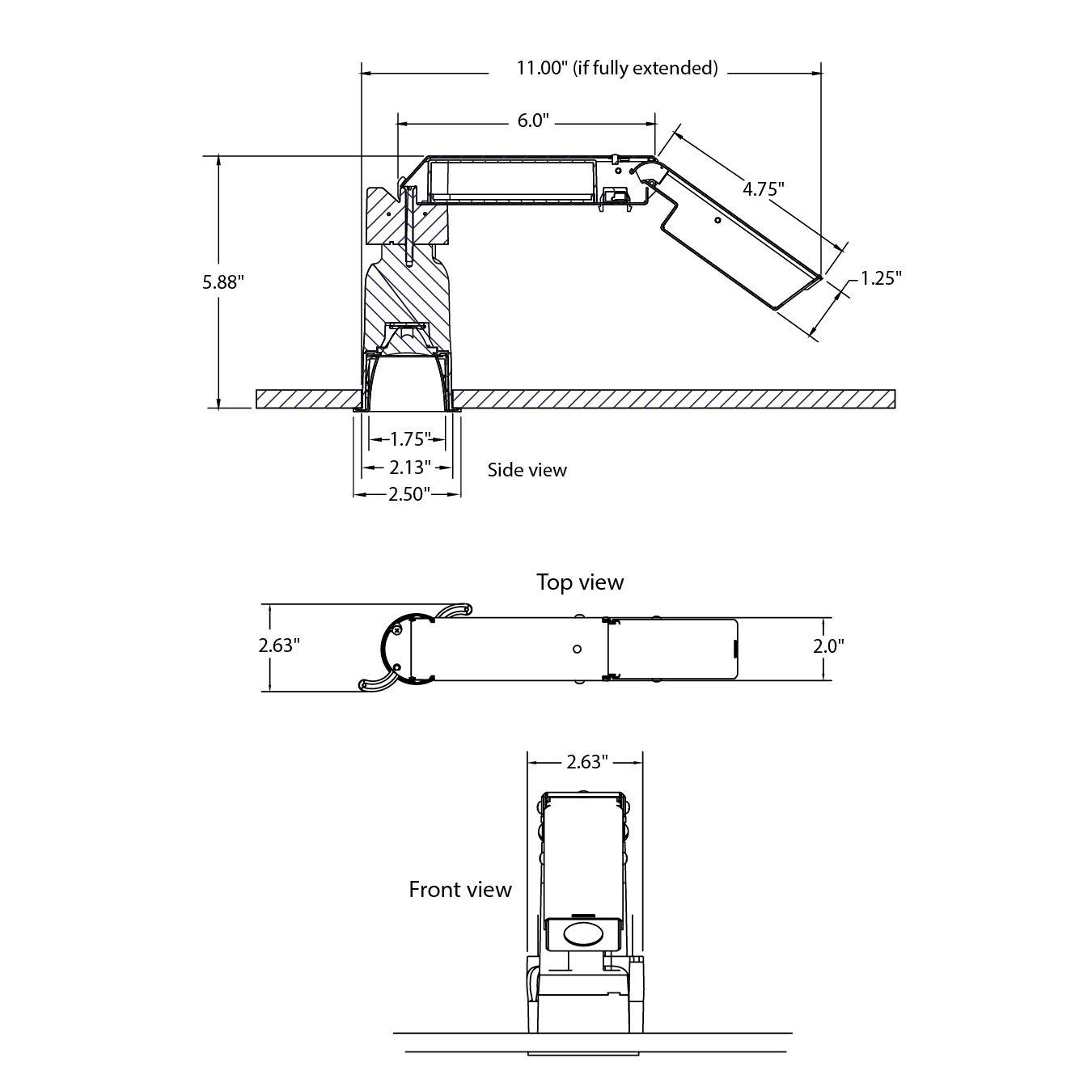 Lightolier Calculite C2x2l Square 1 75 Inch Aperture Led Recessed Open Downlight 400 Lumens