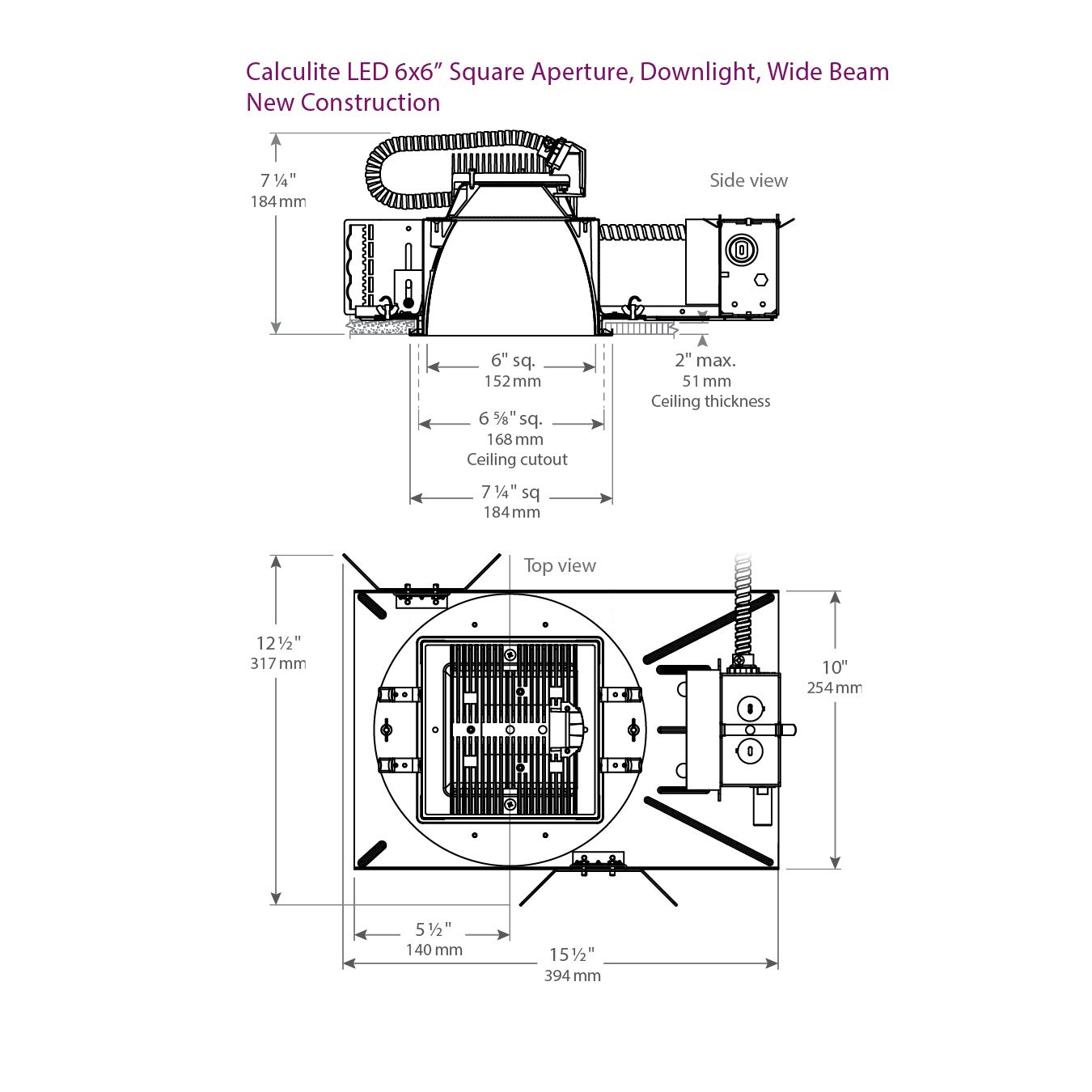 Philips Lightolier C6x6l15n Calculite Lumens Recessed Led 6 Inch X 6 Inch Square Downlight