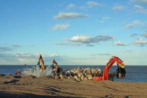5 Unloading and moving rocks onto the beach