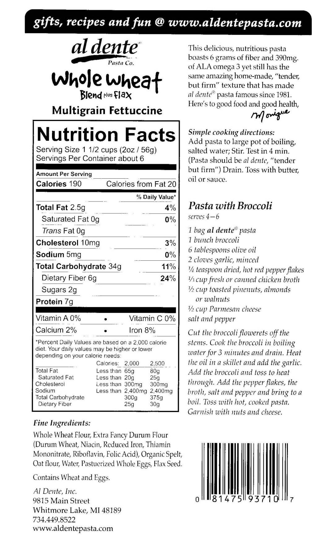 Barilla Whole Grain Pasta Nutrition Label Traffic Club