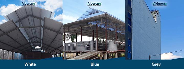 Alderon RS perbandingan warna putih biru abu-abu