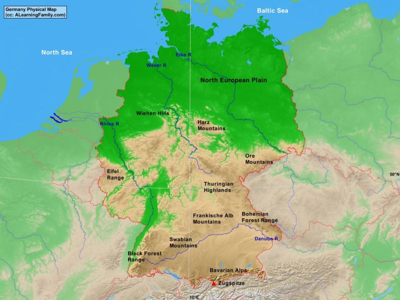 Germany Physical Map   A Learning Family Germany physical map  cc  A Learning Family