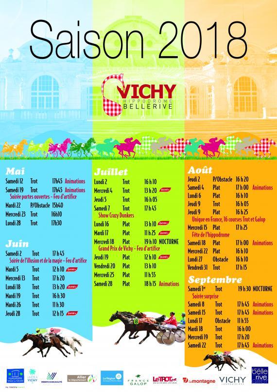 Calendrier 2018 des courses à l'Hippodrome de Vichy