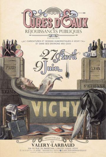 """""""Cures d'eaux et réjouissances publcouverture du livre sur les caricatures à Vichy"""