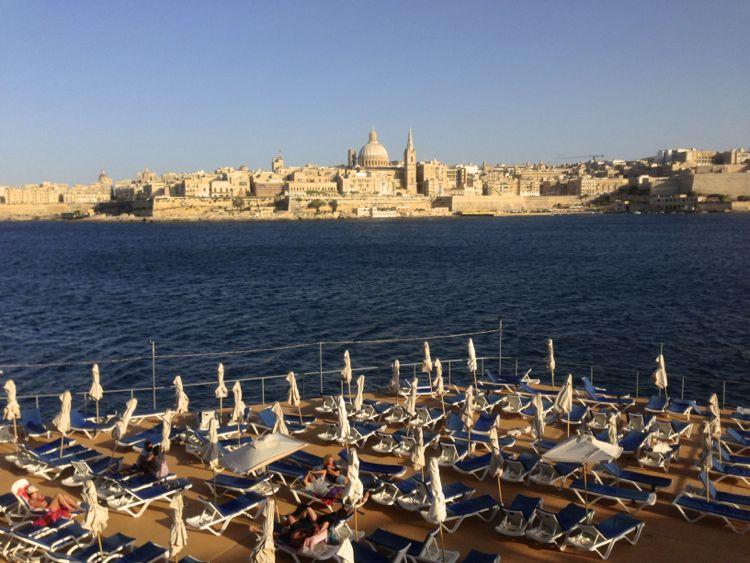 A sight of Valletta from the Beach in Sliema, Malta (July)
