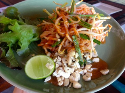 Raw Vegan Pad Thai with Kelp Noodles, Lemongrass & Sprouts