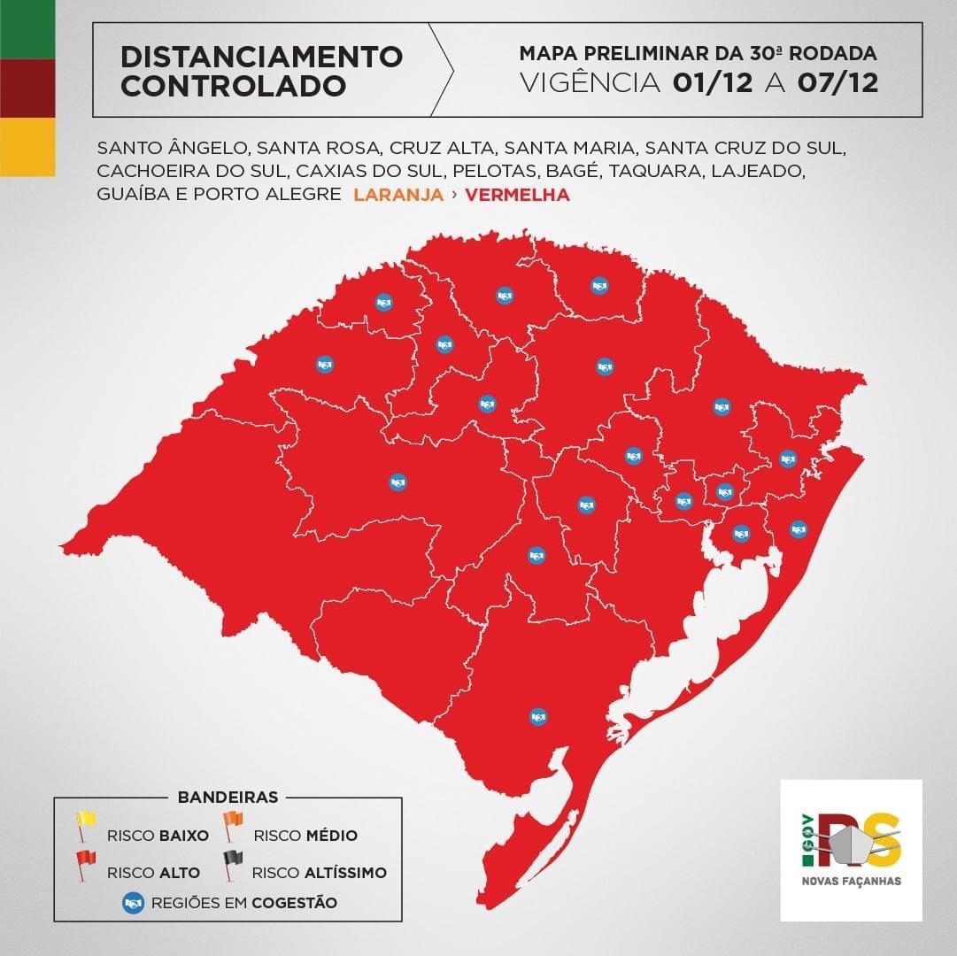 Rio Grande do Sul passa pelo momento mais crítico da pandemia do coronavírus, Alegrete mantém bandeira vermelha