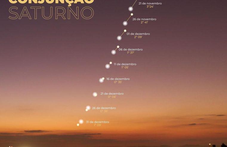 Conjunção Planetária entre Júpiter e Saturno é neste final de tarde
