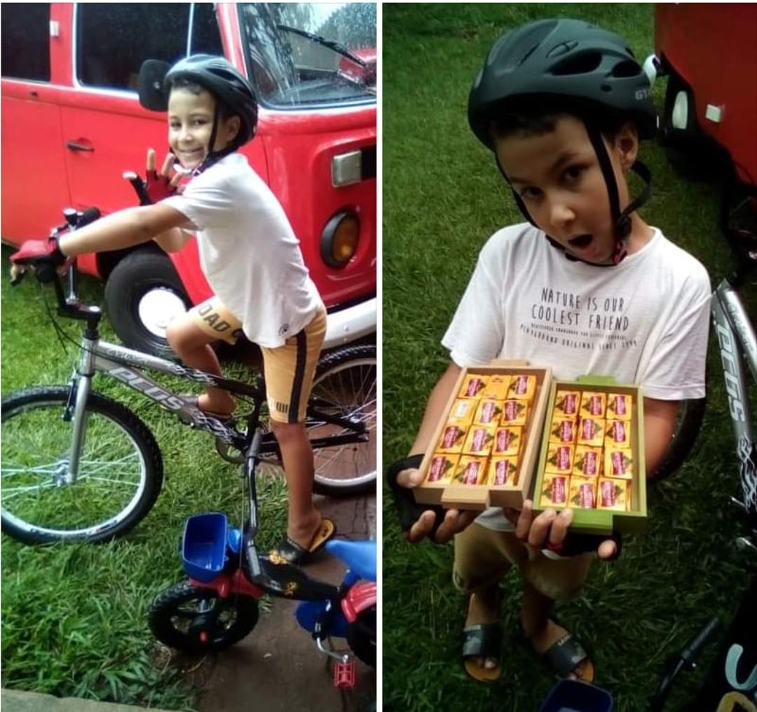 Menino de oito anos, filho de alegretenses, dá exemplo de empreendedorismo no Paraná