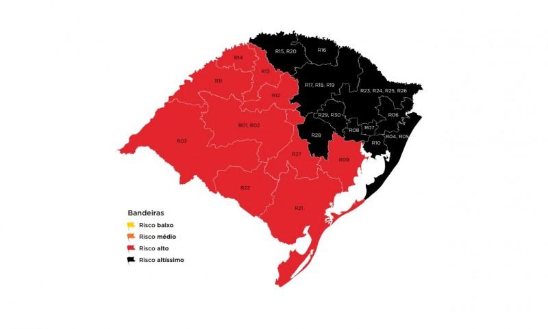Mapa definitivo mantém 11 regiões com risco altíssimo para coronavírus