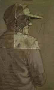 Ud. (You) 2006. 63 x 102 cm. Pastel, acrylic, coffee, collage on cardboard.
