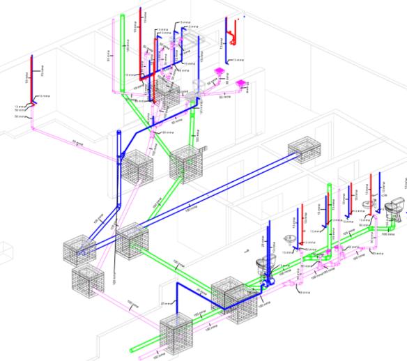 """Figura 2. Modelo de información para la edificación (MIE), del sistema hidráulico – sanitario del proyecto """"Casa Yoselin"""" elaborado por el estudio CONSASUR, en Tuxtla Gutiérrez, Chiapas."""