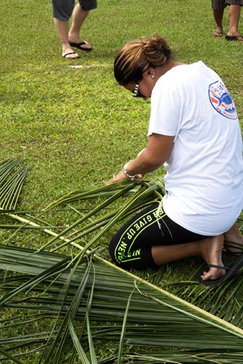 weaving coconut frond