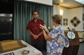 Jaki-ed Auction - Marques Hanalei Marzan, Cultural Resource Specialist, Bishop Museum, Hawaii and RMI Museum Curator Carol Curtis sharing their experience at the Jaki-ed Auction