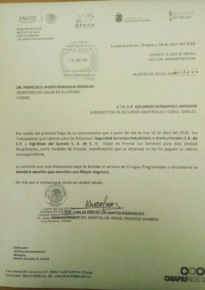Oficio del Hospital General Regional Rafael Pascacio Gamboa
