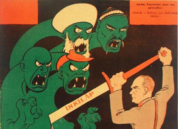 Un cartel propagandístico de la época de Mustafá Kemal Atatürk muestra a éste matando a los detractores de sus reformas. (En la espada se lee, precisamente, 'reforma').