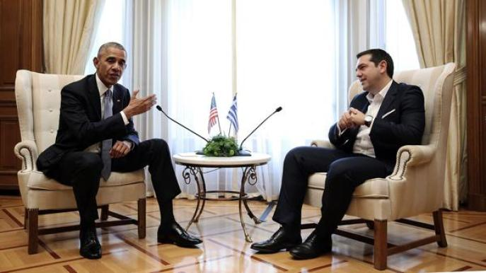 En su primera jornada en Atenas, Barack Obama se reunió con el primer ministro griego, Alexis Tsipras
