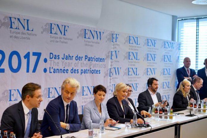 Los líderes de los principales partidos anti-establishment aparecieron juntos en público por primera vez el 21 de enero en Coblenza, Alemania. (Imagen: Marine Le Pen/Twitter).