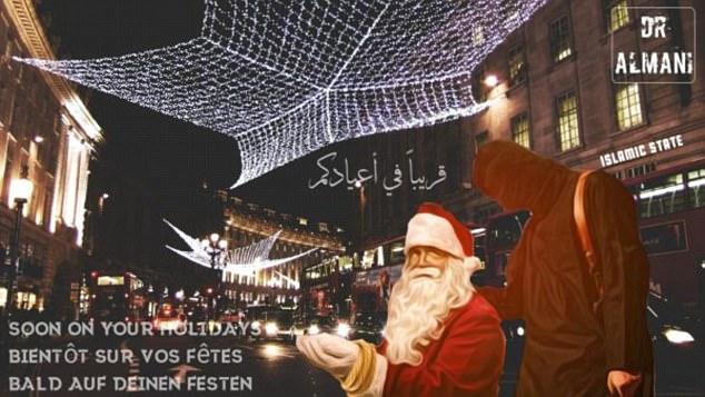Un terrorista del ISIS se ubica detrás de Santa Claus en Regent Street, Londres