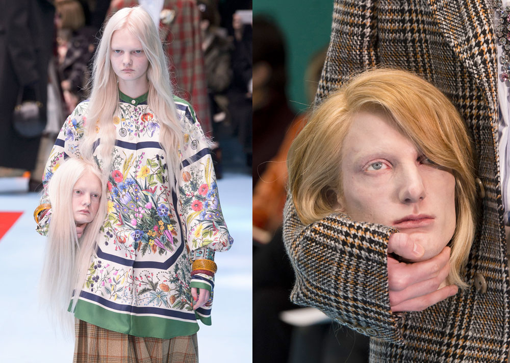 Desfile da Gucci Mostra Modelos Segurando suas Cabeças e Dragões