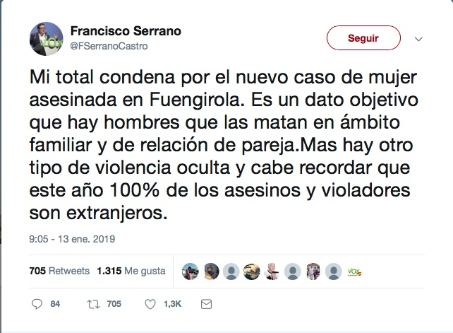 Tweet de Francisco Serrano