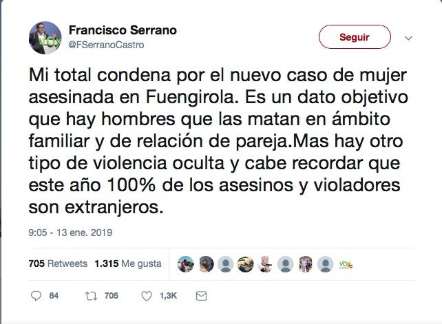 Tweet de Francisco Serrano
