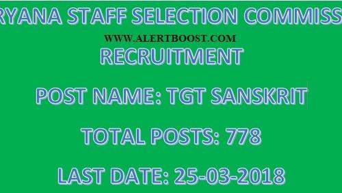 HSSC Recruitment : Apply Online For 778 TGT Sanskrit Post