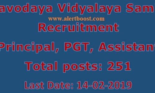 NVS Recruitment 2019: Apply Online For 251 Principal, PGT,& Various Posts