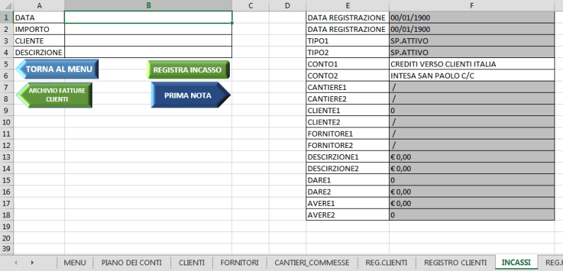 REGISTRAZIONE INCASSI - GESTIONALE EXCEL V_3