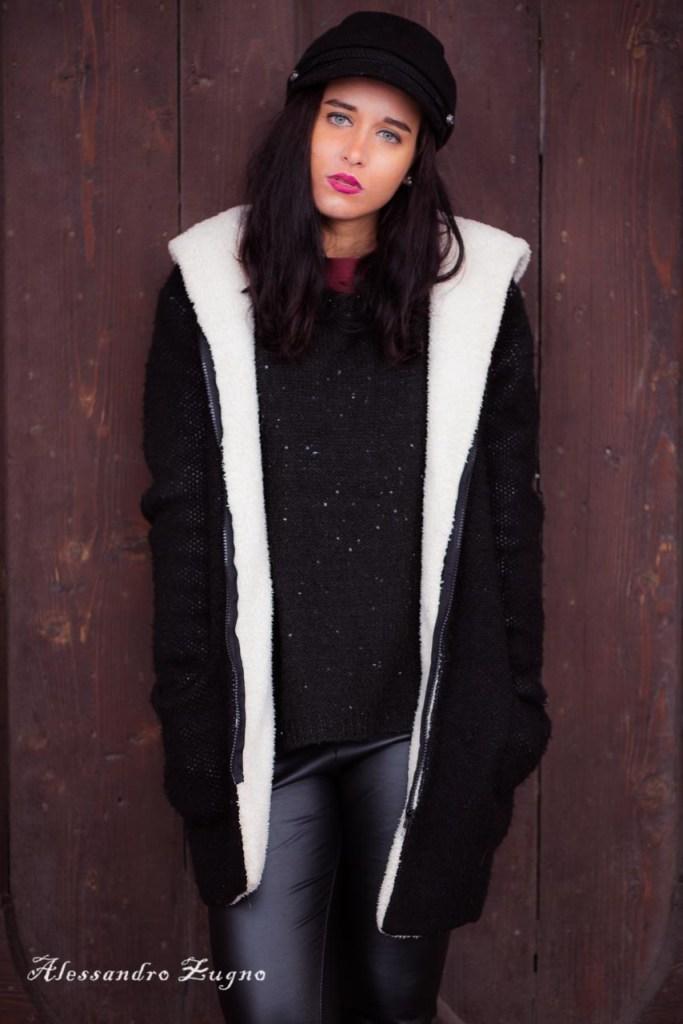 fotografie di moda di ragazza con cappotto invernale