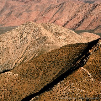 Desert slopes on the eastern side of the pacific crest at Laguna Mountains, seen from the Pacific Crest Trail.
