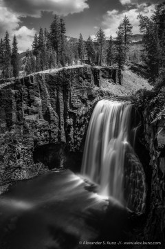 Long exposure of Upper Rainbow Falls of the San Joaquin River, at Devils Postpile National Monument, Mammoth Lakes, CA. August 2012.