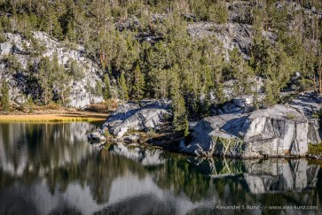 Polished Granite, Lake Reflection -- Little Lakes Valley, Tom's Place, California, United States