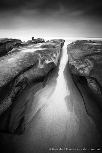 Long exposure of a rock formation at Hospital Point, La Jolla, CA. March 2014.