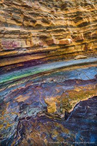 Colorful rock strata at the Point Loma tide pool area, San Diego, California. December 2014.